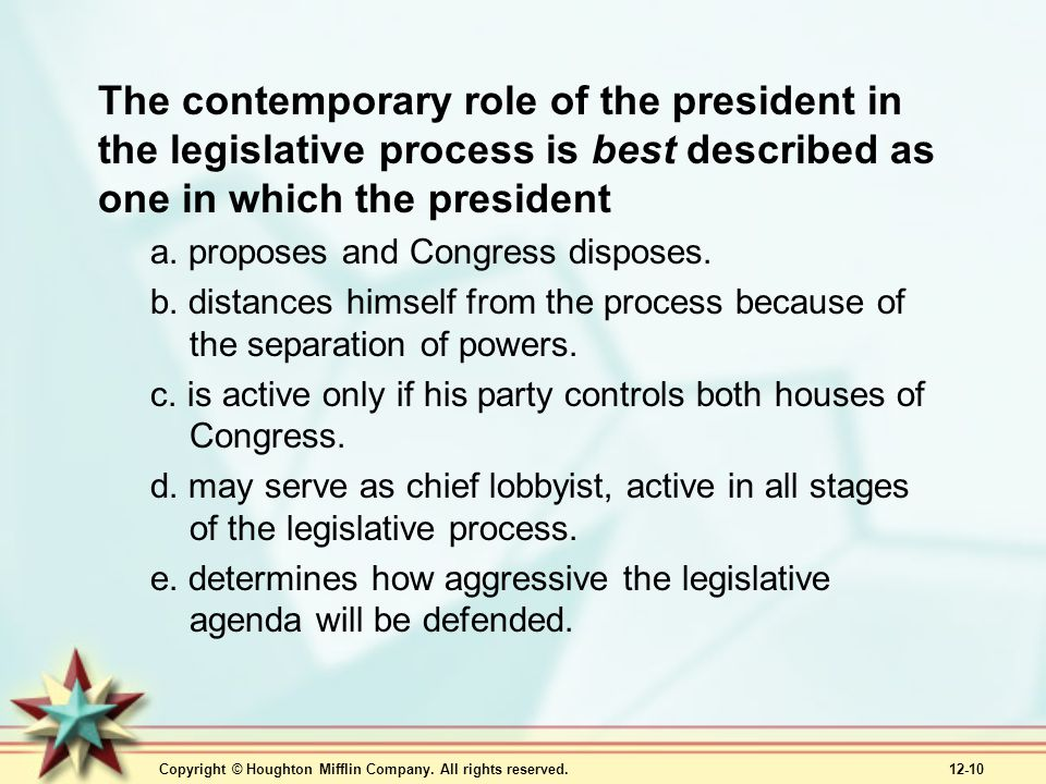The contemporary role of the president in the legislative process is best described as one in which the president