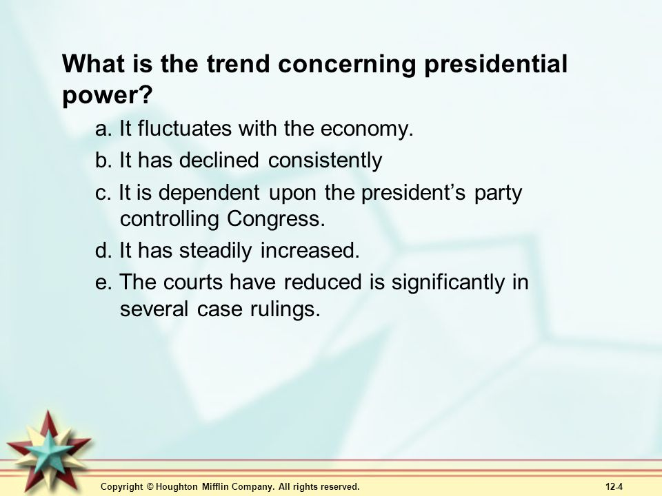 What is the trend concerning presidential power