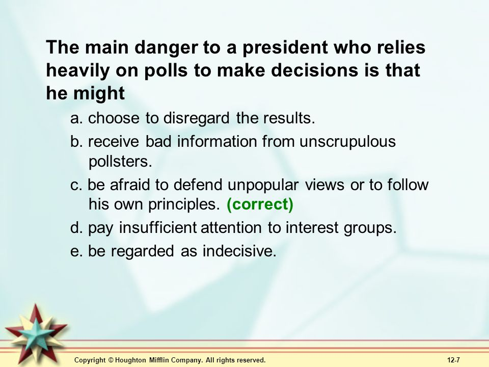 The main danger to a president who relies heavily on polls to make decisions is that he might