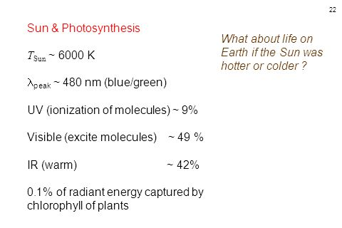 Sun & Photosynthesis TSun ~ 6000 K. peak ~ 480 nm (blue/green) UV (ionization of molecules) ~ 9%