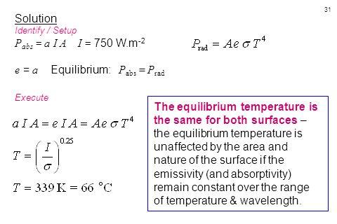e = a Equilibrium: Pabs = Prad