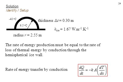Rate of energy transfer by conduction