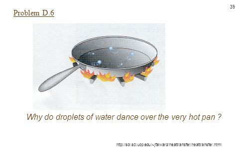 Why do droplets of water dance over the very hot pan