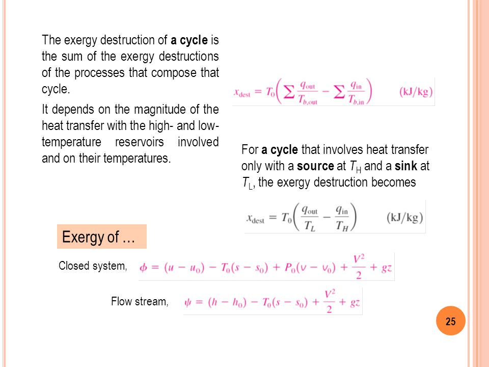The exergy destruction of a cycle is the sum of the exergy destructions of the processes that compose that cycle.