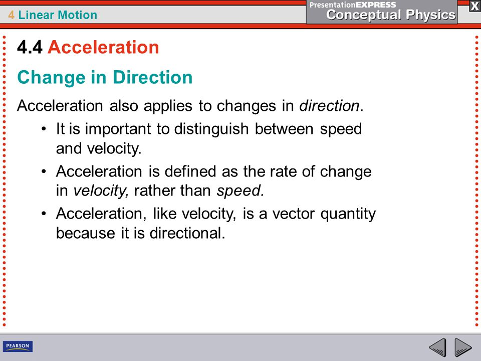 4.4 Acceleration Change in Direction