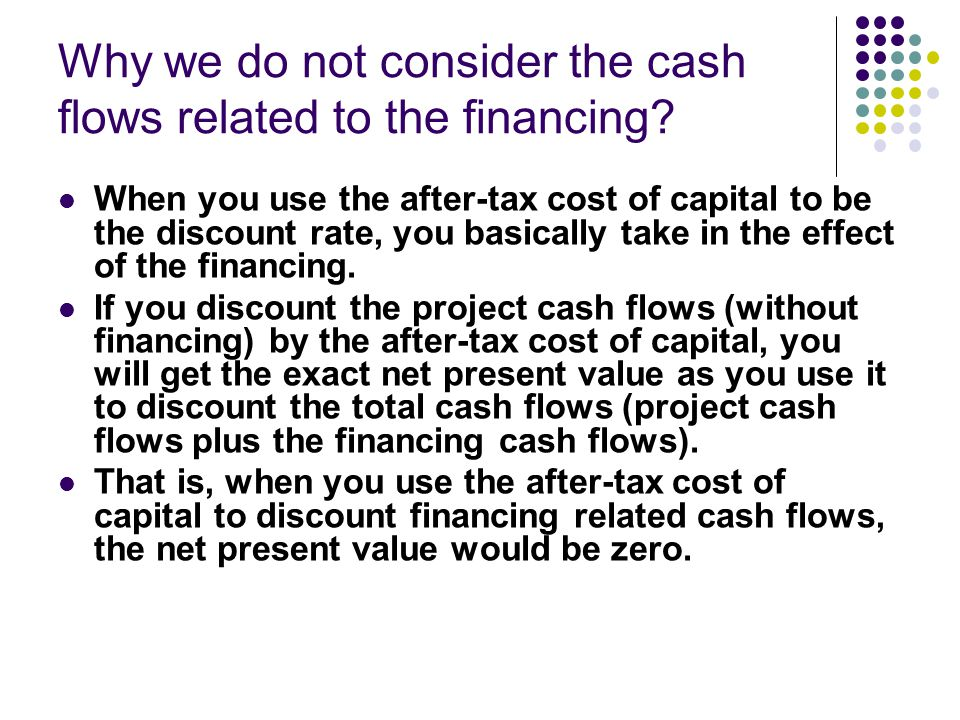 Why we do not consider the cash flows related to the financing