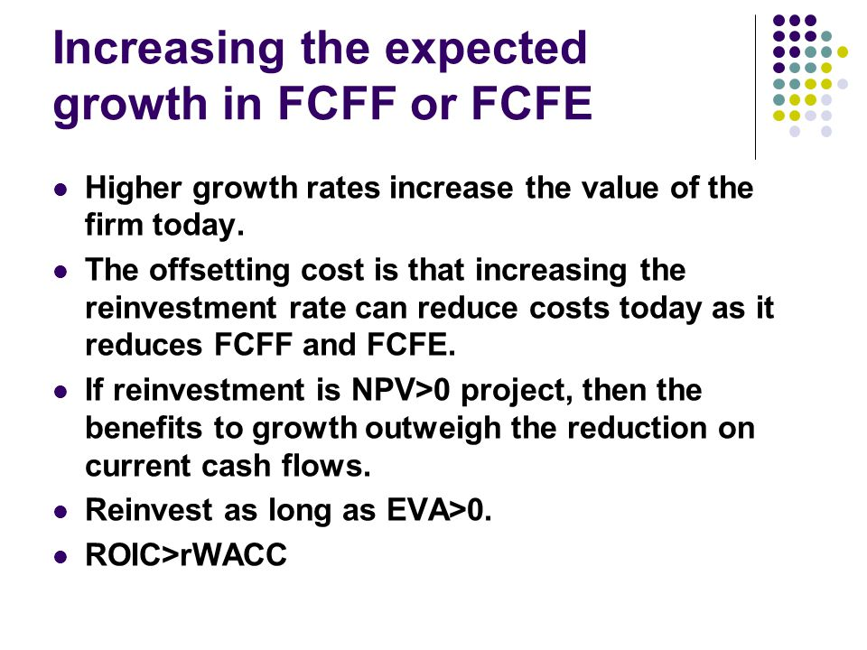 Increasing the expected growth in FCFF or FCFE