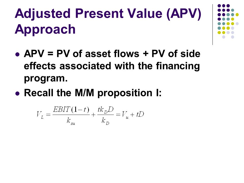 Adjusted Present Value (APV) Approach