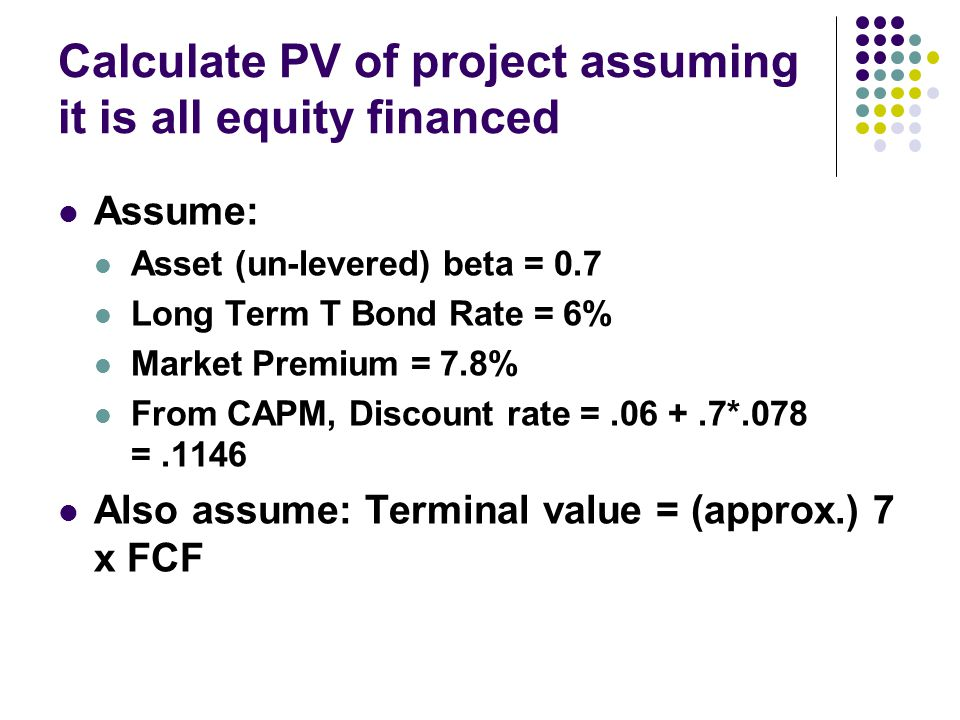 Calculate PV of project assuming it is all equity financed