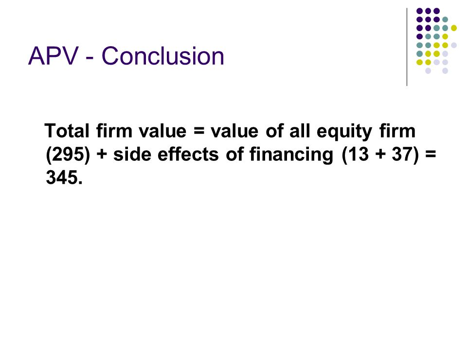APV - Conclusion Total firm value = value of all equity firm (295) + side effects of financing (13 + 37) = 345.