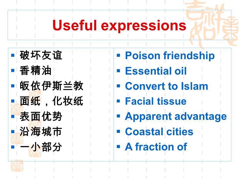 Useful expressions 破坏友谊 香精油 皈依伊斯兰教 面纸,化妆纸 表面优势 沿海城市 一小部分