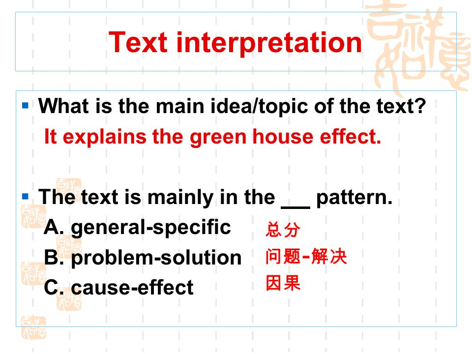 Text interpretation What is the main idea/topic of the text