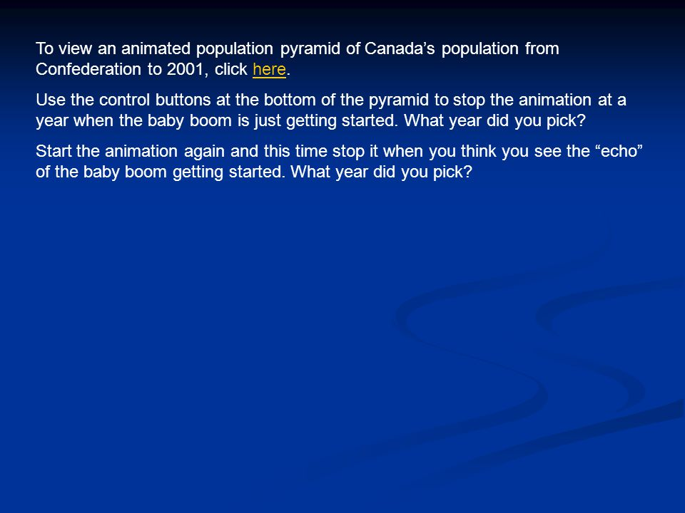 To view an animated population pyramid of Canada's population from Confederation to 2001, click here.