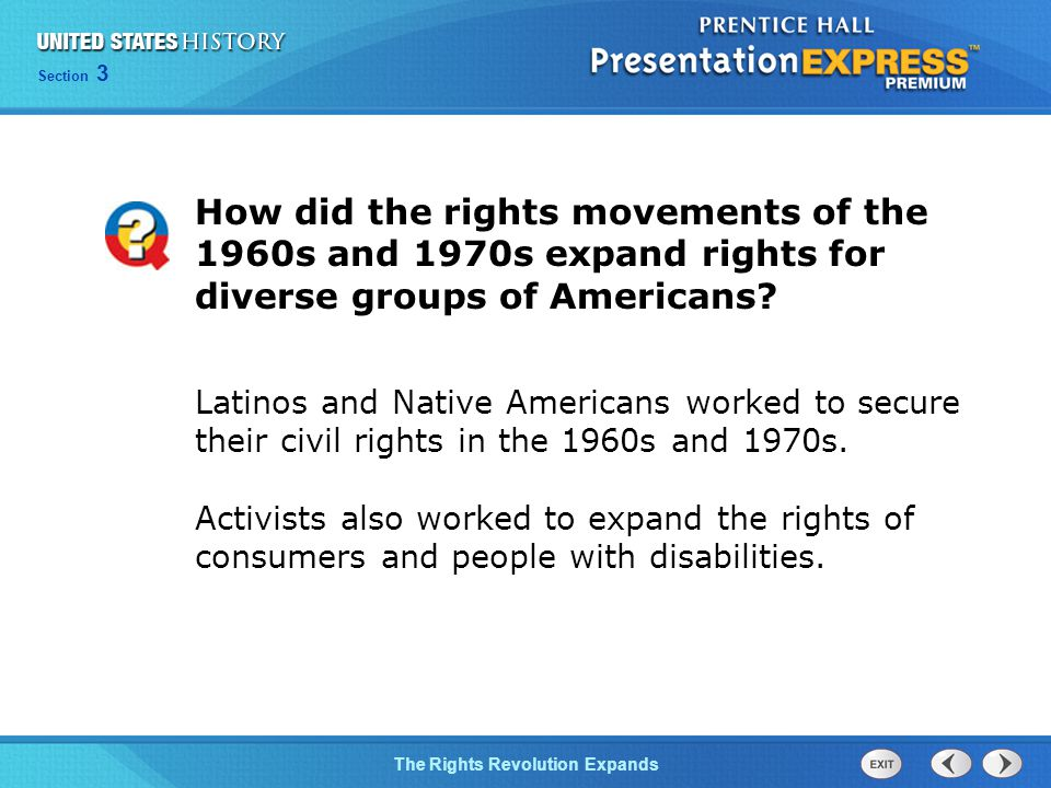 How did the rights movements of the 1960s and 1970s expand rights for diverse groups of Americans