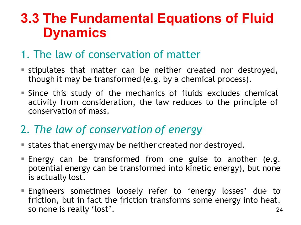 3.3 The Fundamental Equations of Fluid Dynamics
