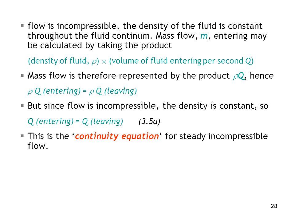 (density of fluid, )  (volume of fluid entering per second Q)