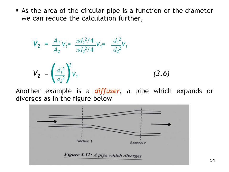As the area of the circular pipe is a function of the diameter we can reduce the calculation further,