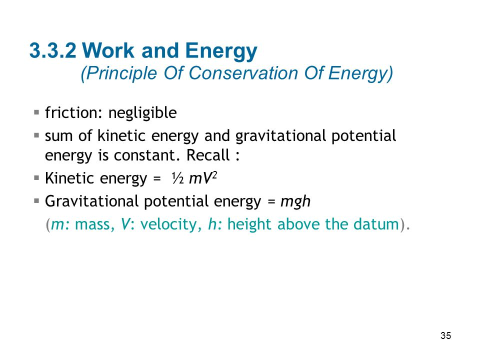 3.3.2 Work and Energy (Principle Of Conservation Of Energy)