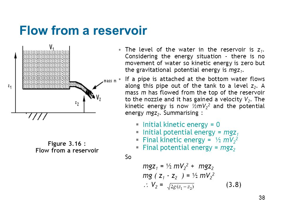 Flow from a reservoir Initial kinetic energy = 0