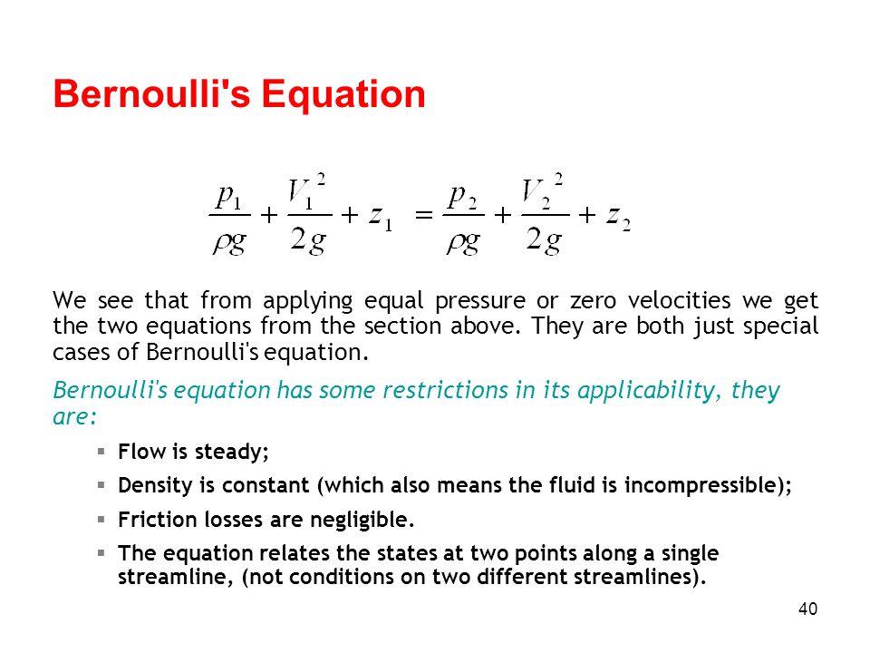 Bernoulli s Equation