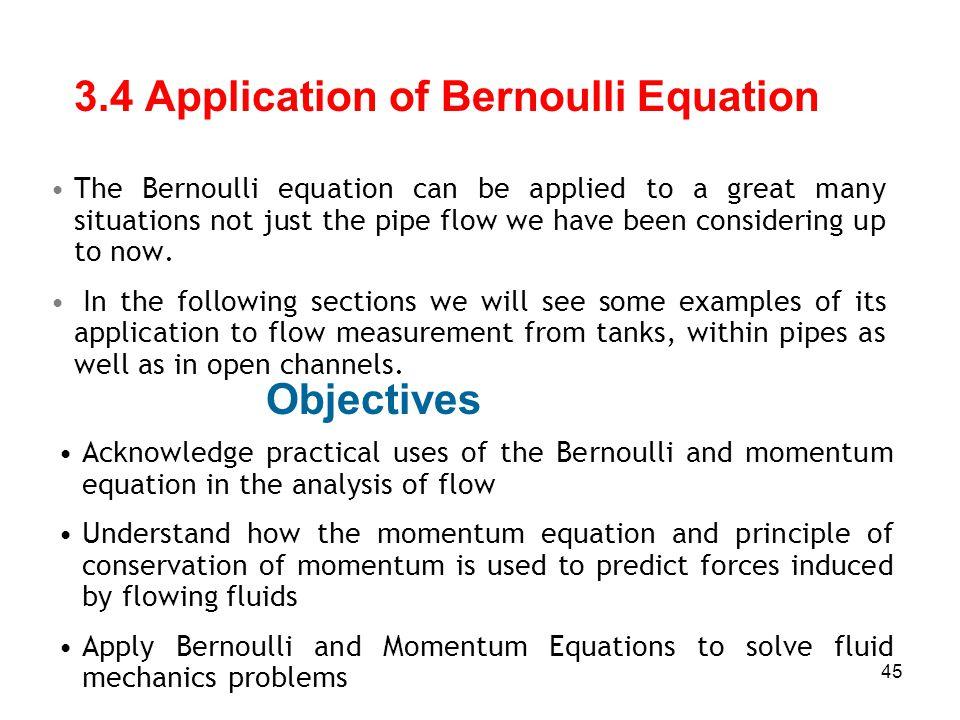 3.4 Application of Bernoulli Equation