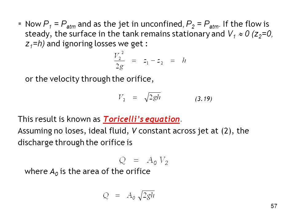 or the velocity through the orifice,