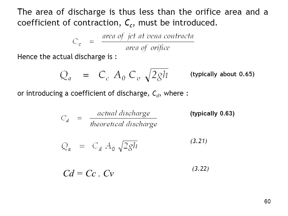 The area of discharge is thus less than the orifice area and a coefficient of contraction, Cc, must be introduced.