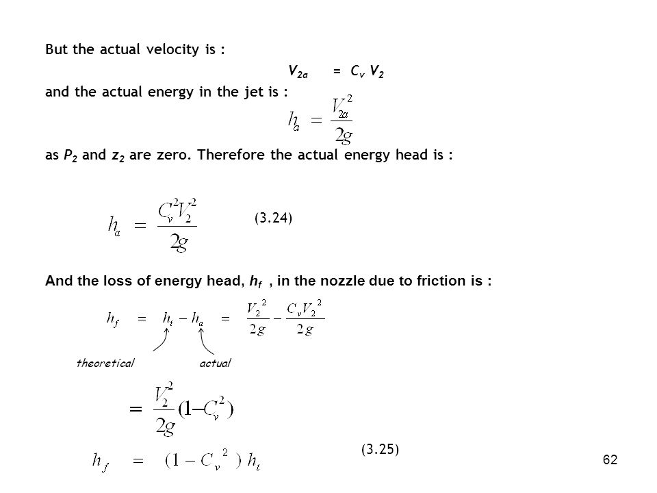 But the actual velocity is : V2a = Cv V2