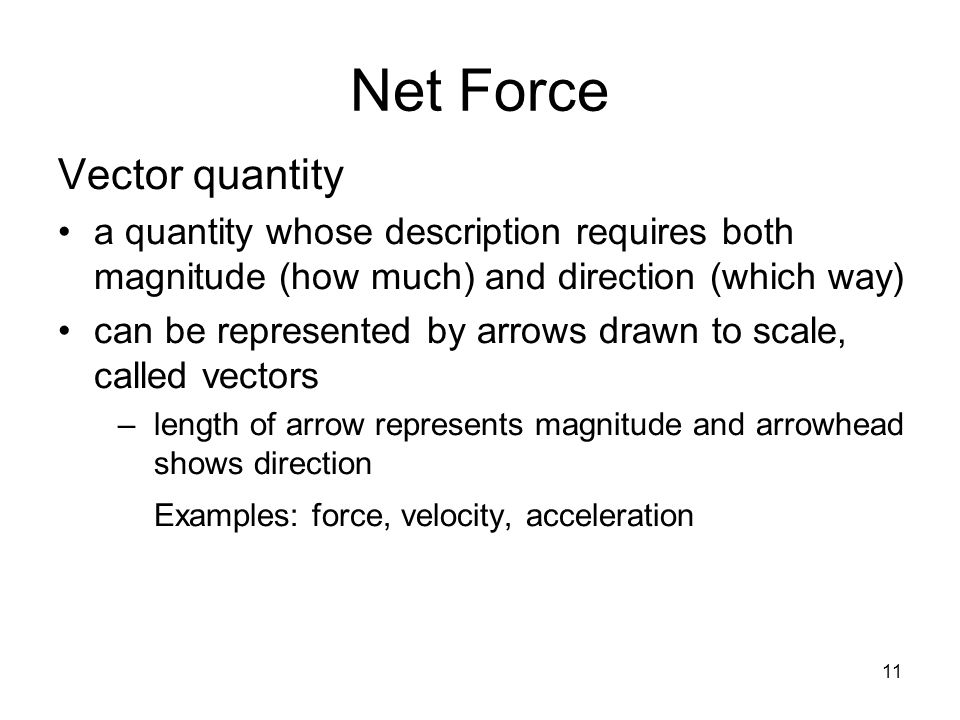 Net Force Vector quantity