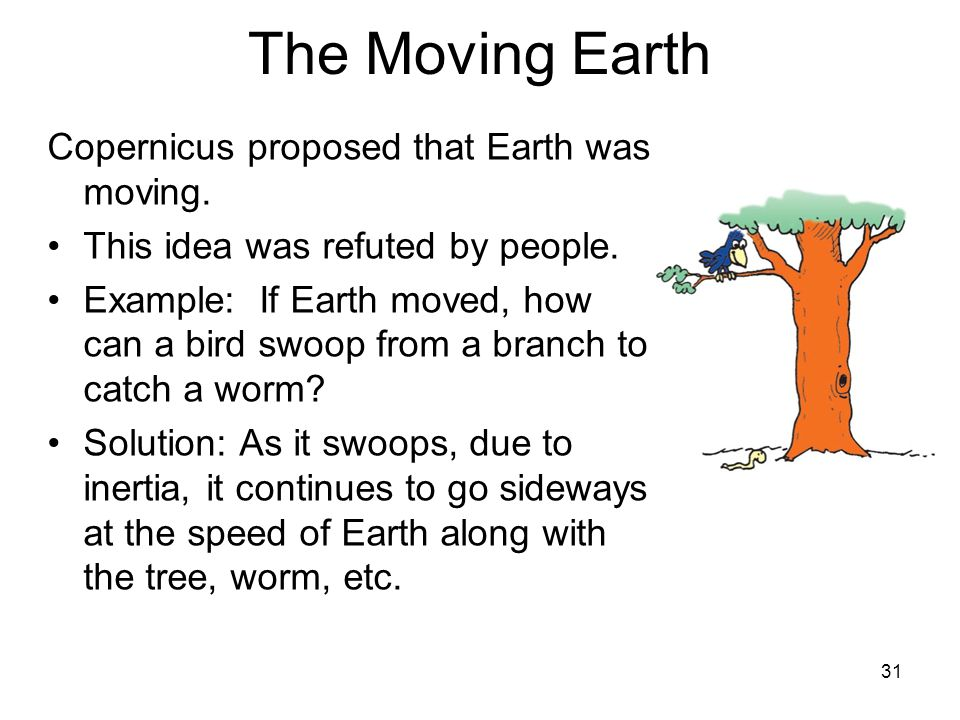 The Moving Earth Copernicus proposed that Earth was moving.