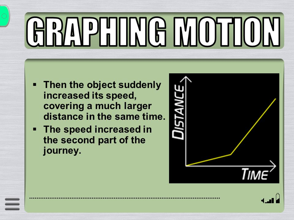 GRAPHING MOTION Then the object suddenly increased its speed, covering a much larger distance in the same time.