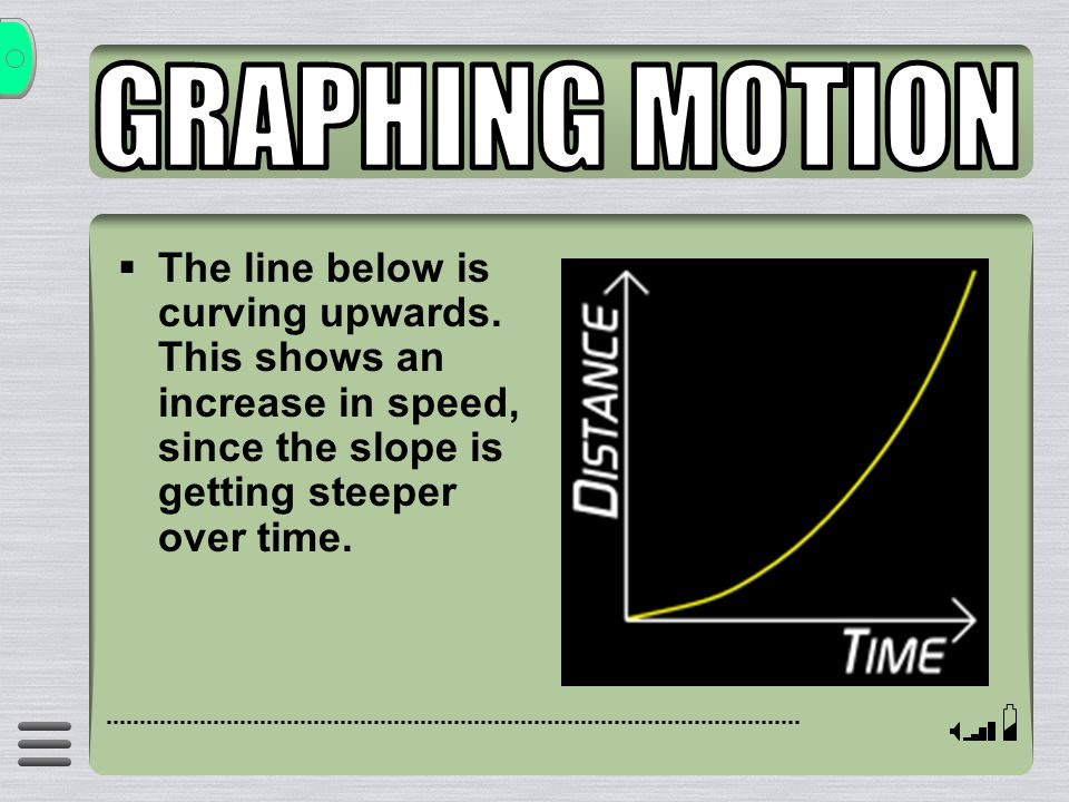 GRAPHING MOTION The line below is curving upwards.