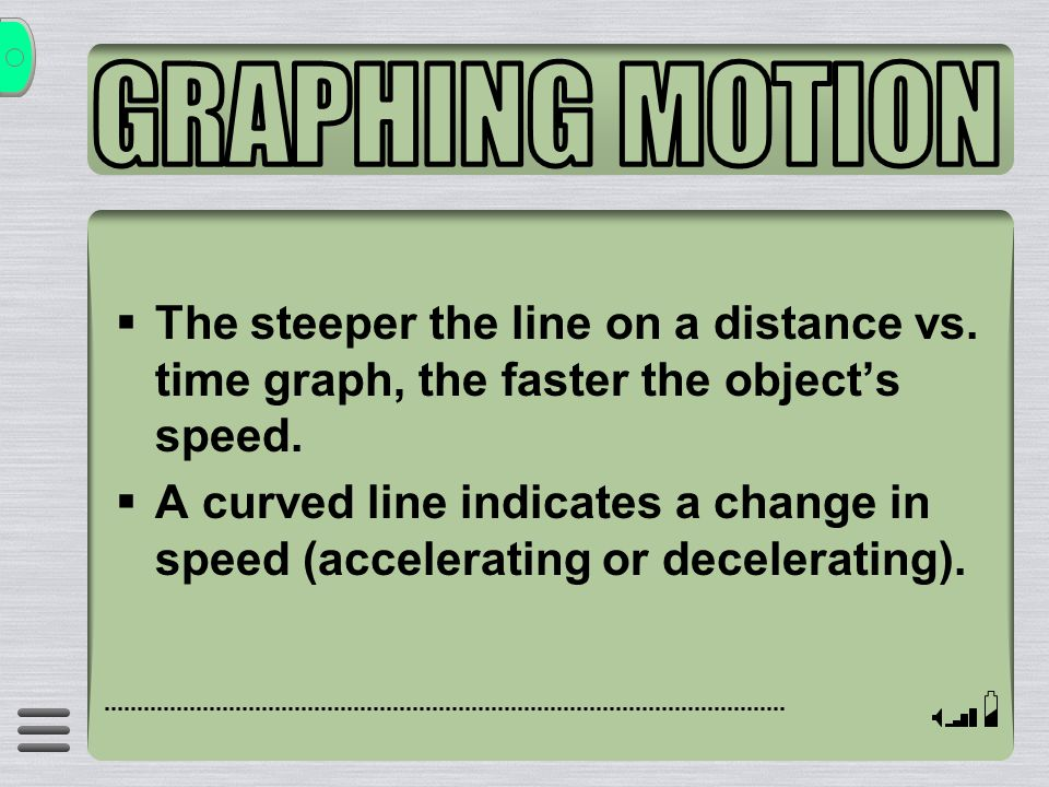 GRAPHING MOTION The steeper the line on a distance vs. time graph, the faster the object's speed.