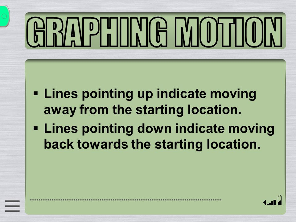 GRAPHING MOTION Lines pointing up indicate moving away from the starting location.