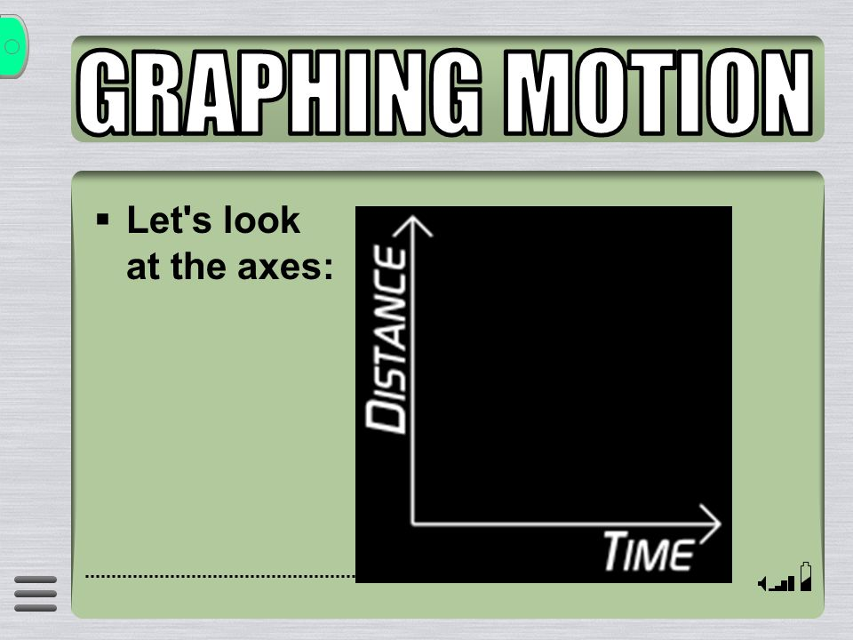 GRAPHING MOTION Let s look at the axes: