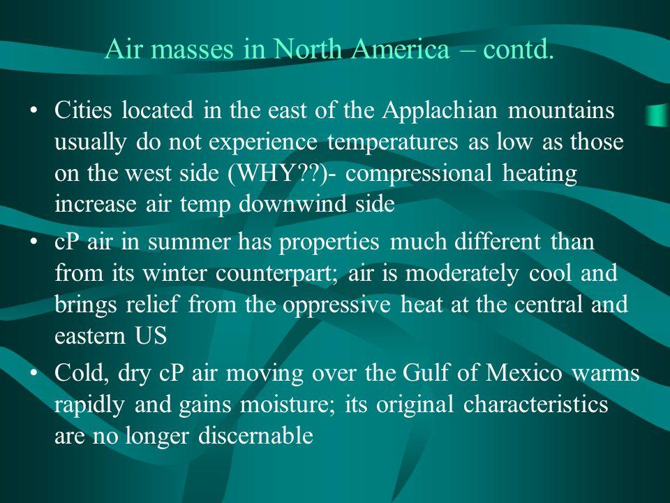 Air masses in North America – contd.