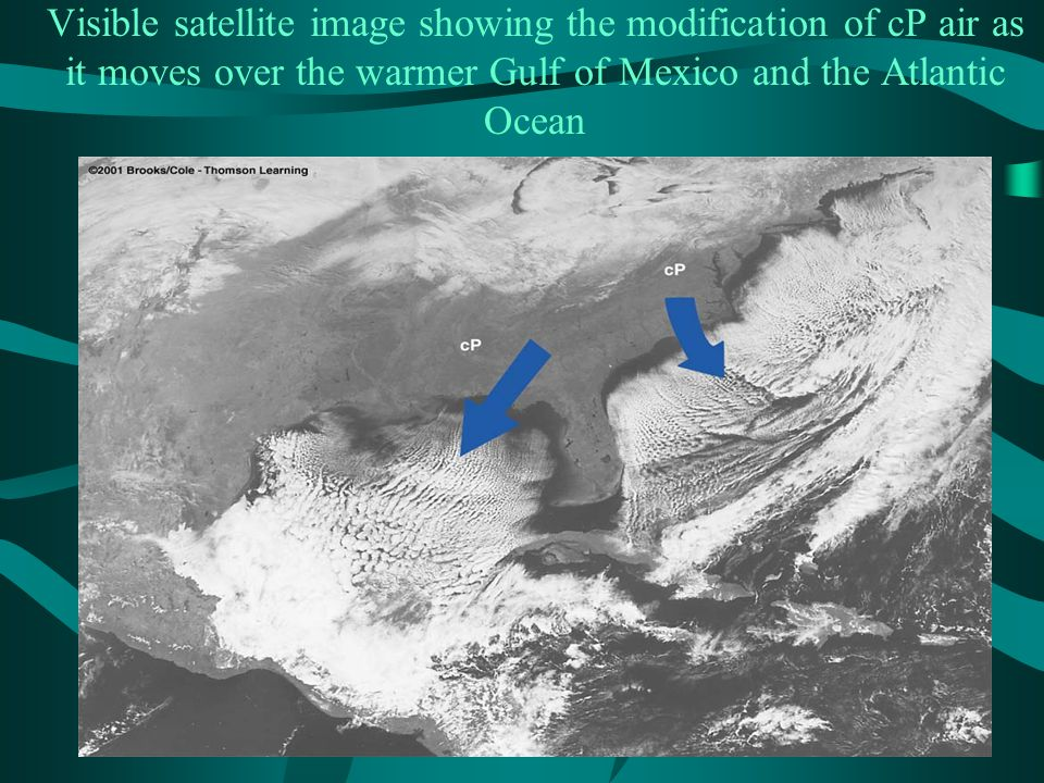 Visible satellite image showing the modification of cP air as it moves over the warmer Gulf of Mexico and the Atlantic Ocean