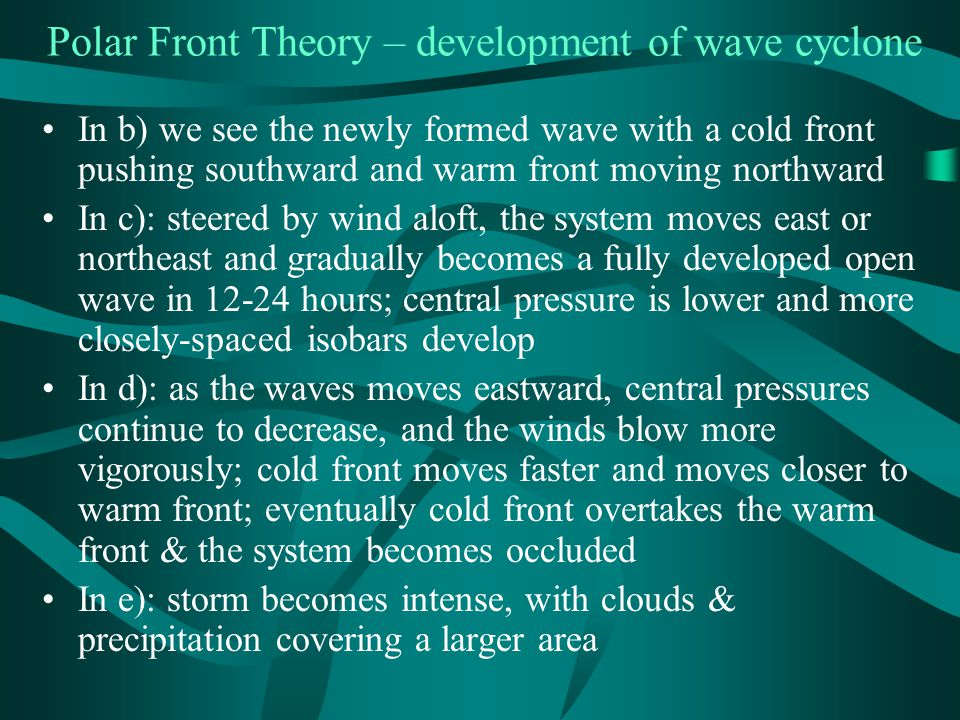 Polar Front Theory – development of wave cyclone