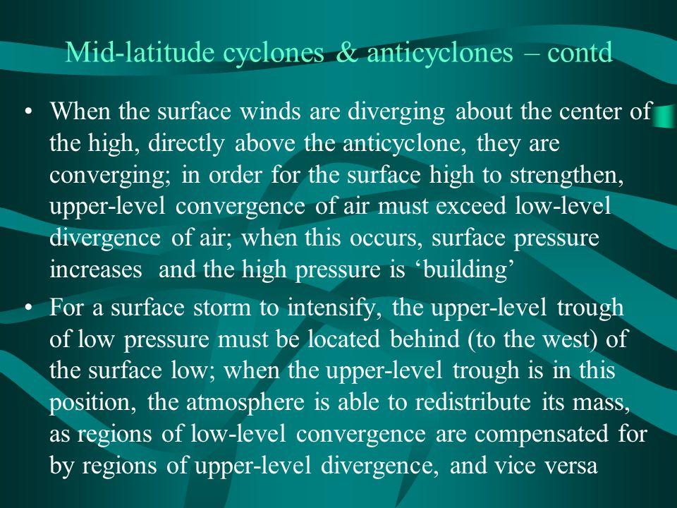 Mid-latitude cyclones & anticyclones – contd