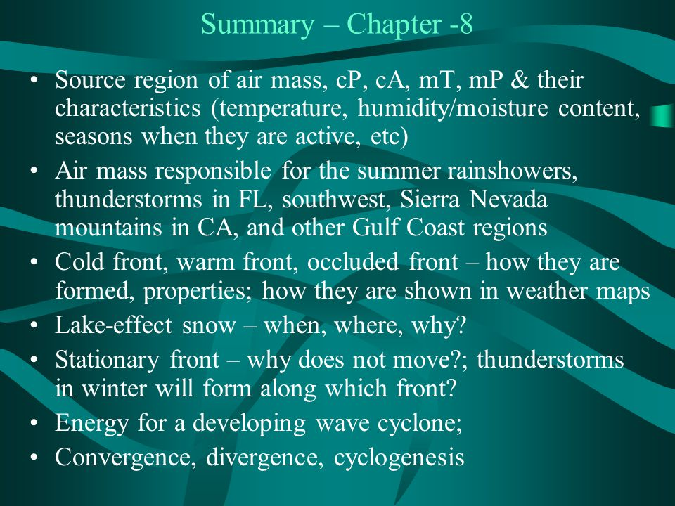 Summary – Chapter -8