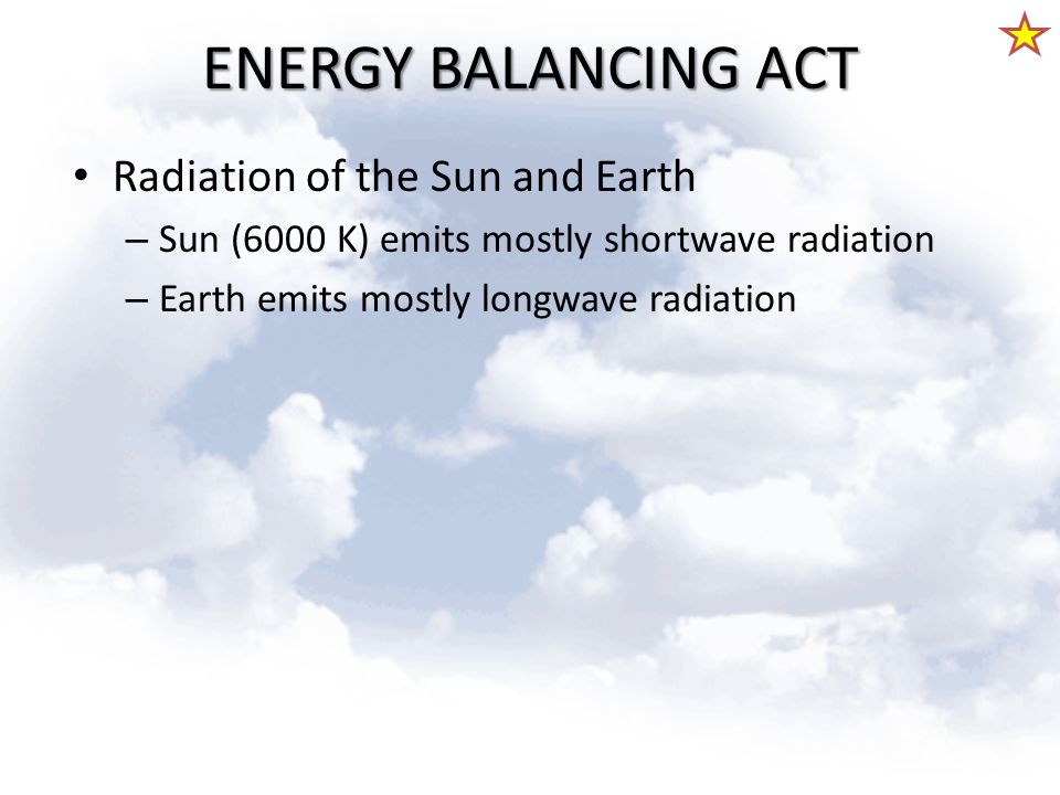 ENERGY BALANCING ACT Radiation of the Sun and Earth