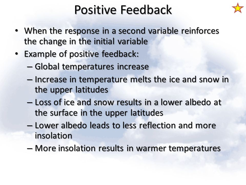 Positive Feedback When the response in a second variable reinforces the change in the initial variable.