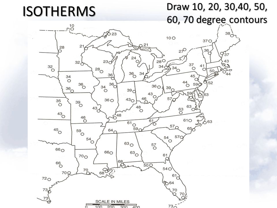 ISOTHERMS Draw 10, 20, 30,40, 50, 60, 70 degree contours
