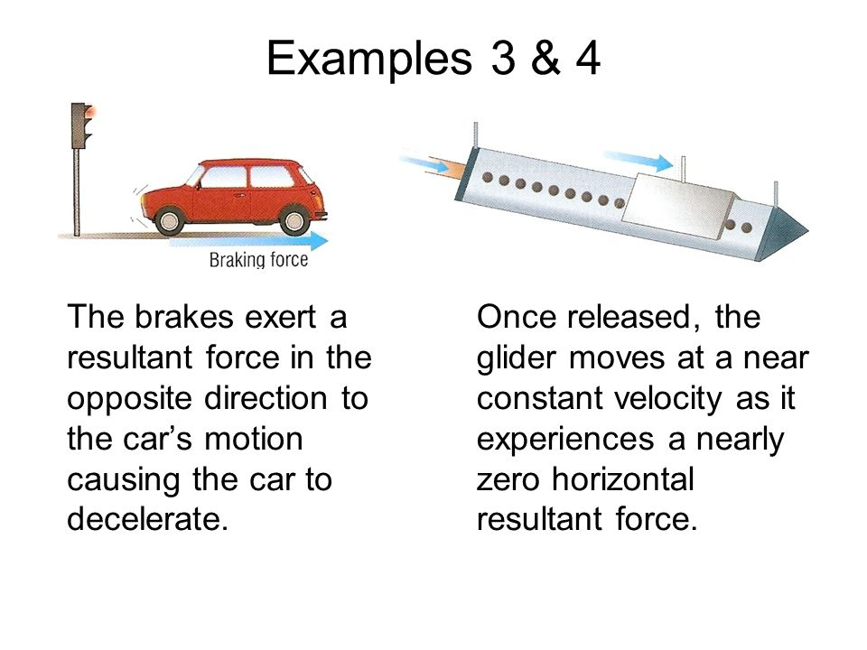 Examples 3 & 4 The brakes exert a resultant force in the opposite direction to the car's motion causing the car to decelerate.