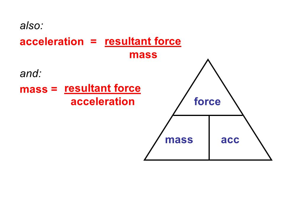 also: acceleration = and: mass = resultant force mass resultant force acceleration force mass acc