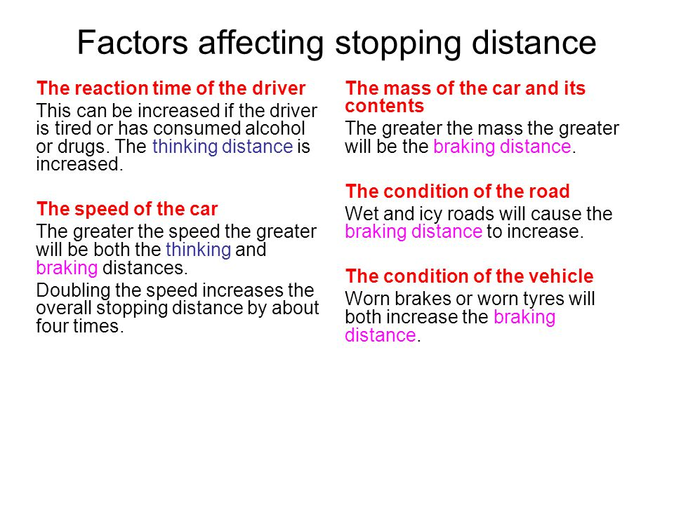 Factors affecting stopping distance