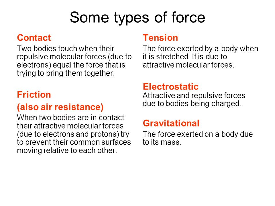 Some types of force Contact Friction (also air resistance) Tension