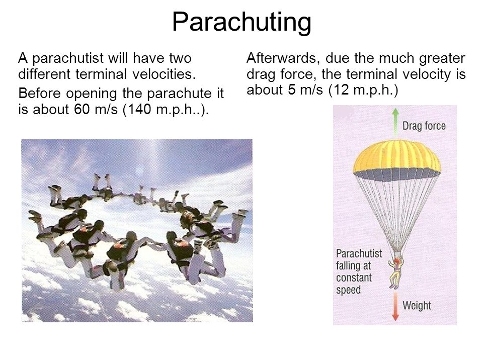 Parachuting A parachutist will have two different terminal velocities.