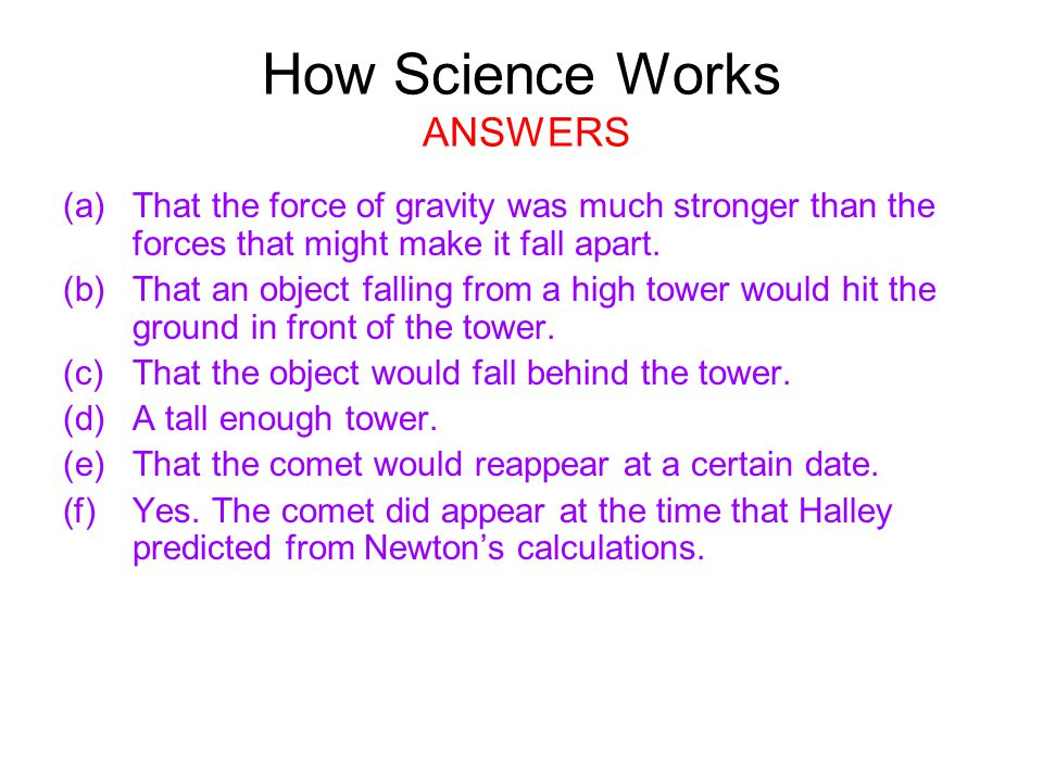 How Science Works ANSWERS