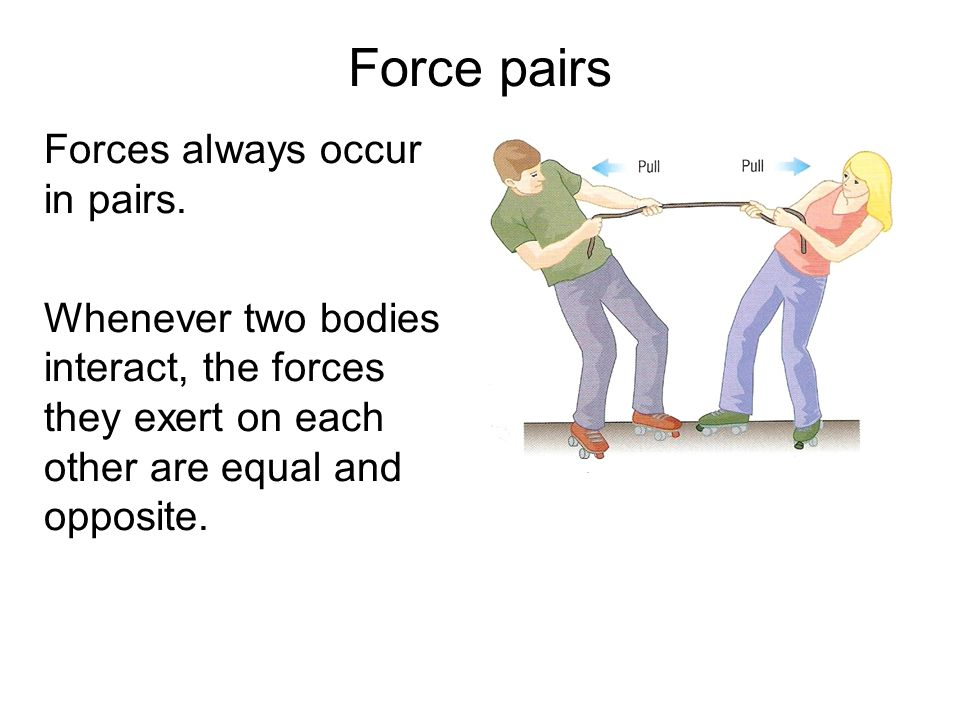 Force pairs Forces always occur in pairs.